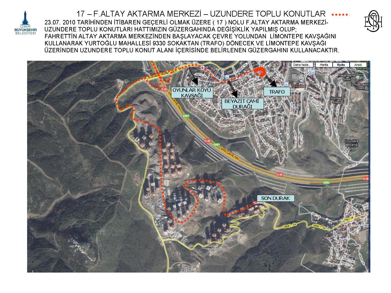 17 - Fahrettin Altay - Toki Uzundere Konutları Otobüs Güzergahı